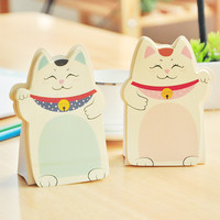 E31 Cute Kawaii Lucky Cat Stand Memo Pads Paper Stick Message Sticker Stationery Bookmark Sticky Notes School Office Supply