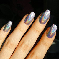 Holographic Silver Long Coffin False Nails Press-On Full Cover Made in UK Handmade Ballerina