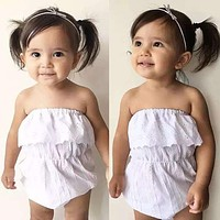Newborn Toddler Kids Baby Girls Bodysuits Clothing Off Shoulder Overalls Slash Neck Casual White Jumpsuit Bodysuit Outfits