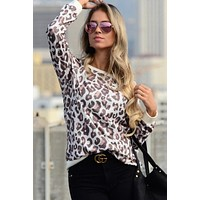Crew Neck Long Sleeve Leopard Top - Brown