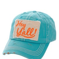 Hey Ya'll Distressed Cotton Baseball Cap Hat Turquoise, Embroidered On Torn Denim Decor