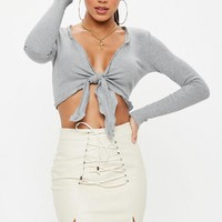 Missguided - Gray Long Sleeve Tie Front Crop Top