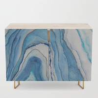 AGATE Inspired Watercolor Abstract 02 Credenza by vivigonzalezart