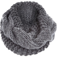 River Island Womens Grey chunky cable knit snood