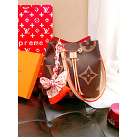 LV 2019 new women's fashion wild bucket bag Messenger bag coffee