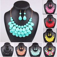 Hot Acrylic Bead Chokers Statement Necklaces 2016 Bib Bubble Necklace Earrings Jewelry Set Multi layer Jewellery Sets Collar