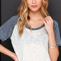 MVP Grey and Ivory Burnout Crop Tee