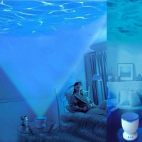Romantic Ocean Daren Sea Waves Projector Lamp MP3 iPhone Speaker LED Night Light (Blue)