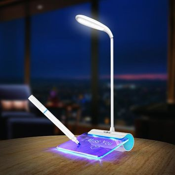 Luminix Rechargeable Desk Lamp LED Light with Message Board