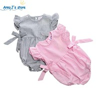 Toddler Bodysuits Baby One-piece Pink Stripes Striped Sweet Infant Girl Clothes Baby Bow
