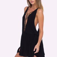 Sachi Macrame Mini Dress (Black)
