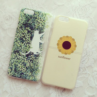 Lovely cat and sun flower mobile phone case for iphone 6 6s 6plus 6s plus + Nice gift box!