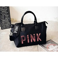2017 Hot Bags Black Sequins PINK Letter Luggage bags Large Capacity Waterproof Nylon High Quality Fashion Trave Duffle FR525