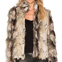 Jack by BB Dakota Tempest Faux Fur Coat in Multi