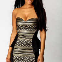 Emma Foil Aztec Print Peplum Dress