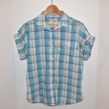 Vintage Women's Short Sleeve Plaid Button Down by The Fox Collection - Green, Blue, Red & White