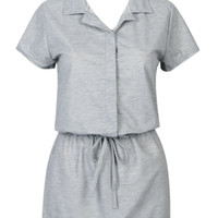 Gray Tie Waist Short Sleeve Shirt Dress