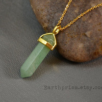 Green Adventurine Hexagonal Crystal Point Pendant Necklace with Gold Plated Chain | Adventurine Necklace | Gold Crystal Necklace | Gemstone