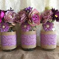 Lavender rustic burlap and lace covered 3 mason jar vases wedding deocration, bridal shower, engagement, anniversary party decor