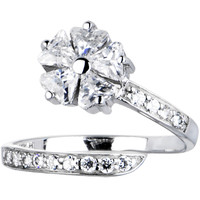 Solid 14K White Gold Cubic Zirconia Floral Flower Toe Ring   Body Candy Body Jewelry