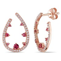 0.82 CT TGW Pink Tourmaline and White Topaz Fashion Earrings Silver Rose