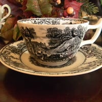 Rural Scenes Black Transferware Cup and Saucer Pastoral Vintage English China Gift for Tea Drinker