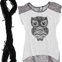 """Cookie's Kids > Beautees Big Girls' """"Armored Owl"""" Top with Infinity Scarf (Sizes 7 – 16)"""