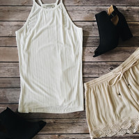 Ribbed Knit Tank Top (Ivory)