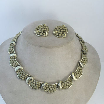 CORO Demi Parure, Necklace & Earrings set,  Brushed Gold tone Choker, Textured Clusters, Vintage Jewelry