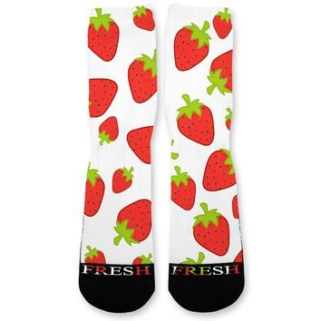 Strawberry Frenzy Custom Athletic Fresh Socks