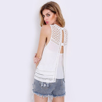 White Cut Out Lace  Patchwork Chiffon Vest
