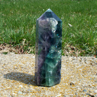 Purple Green Large Fluorite Point Natural Polished over 1 lb Metaphysical Healing Energy Stone Rock Gem Mineral Crystal