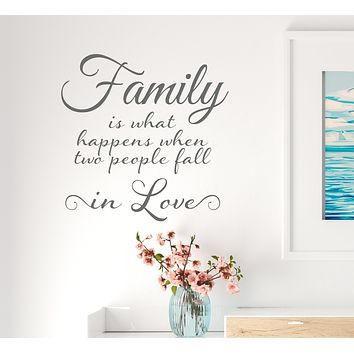 Vinyl Wall Decal Lettering Family Love Romantic Happiness Home Art Stickers Mural 22.5 in x 22.5 in Grey gz320