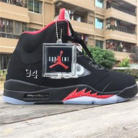 Supreme X Air Jordan 5 Black Basketball Shoes 36-47