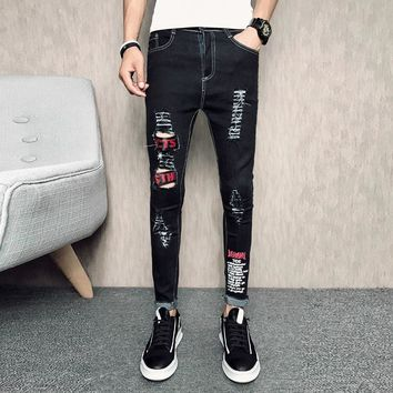 New 2018 Mens Skinny Jeans Black Stretch Ankle Length Jeans Male Hole Ripped Fashion Men Pants