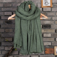 Winter scarf/autumn scarf/cotton and linen scarf/warm scarf/women scarf/pure color scarf/soft scarf/long scarf/fashion scarf = 1958116484