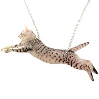 Grey Striped Kitty Cat Jumping in Mid Air Shaped Pendant Necklace | Handmade