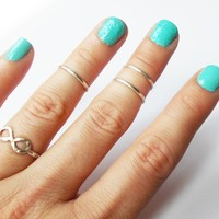 Any Size .925 Sterling Silver Knuckle Rings Set - Stackable - Midi Rings - Above the Knuckle Rings