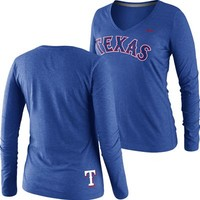 Texas Rangers Women's Old Faithful Longsleeve V-Neck T-Shirt (Blue) at Fanzz.com