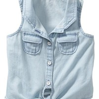 Tie-Front Sleeveless Chambray Shirts for Baby
