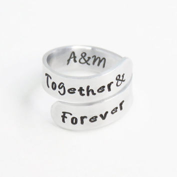 Together and Forever ring - Relationship ring promise ring couples ring - Boyfriend girlfriend ring - Stamped couple ring