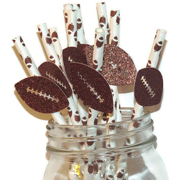 Football party straws, football decorations, sports birthday decor, glitter footballs, Superbowl, Super Bowl, 10CT