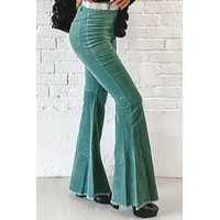 Pot Of Gold Green Corduroy Highwaisted Bell Bottoms