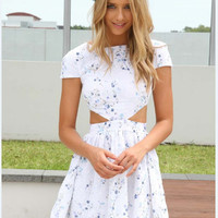 White Floral Cut Out Skater Dress