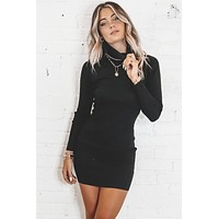 Stole Your Heart Black Bodycon Midi Dress
