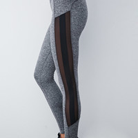Heathered Mesh-Paneled Leggings