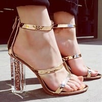 New sexy and fashionable transparent sandals with high heels, sequins and chunky heels