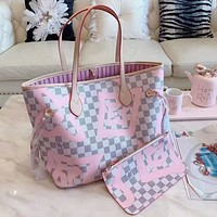 Louis Vuitton LV High Quality Hot Sale Women Leather Handbag Tote Shoulder Bag Purse Wallet Set Two-Piece