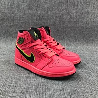 Air Jordan 1 Retro Mid Aq9131-600 Leather Basketball Shoes