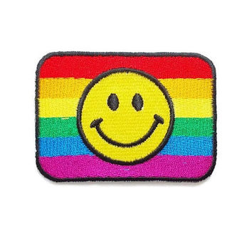 Yellow Smiley Face on Rainbow Patch New Iron On Patch Embroidery Applique Size 6.8cm.x4.9cm.
